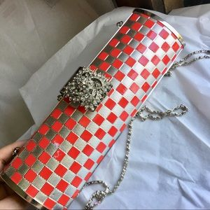 Handbags - Silver Tone Metal & Red Clutch w/ Rhinestones